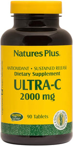 NaturesPlus Ultra C W/Rose Hips, Sustained Released - 2000 mg, 90 Vegetarian Tablets - Maximum Potency Immune Support, Antioxidant - Free-Radical Defense - Gluten-Free - 90 Servings