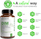 Maximum Strength DIM Supplement 250mg – 90 Vcaps Diindolylmethane Ultra Complex Plus Chasteberry, Dong Quai Extract + More, Estrogen Blocker, Hormone Balance for Women and Men, Menopause, PCOS Relief