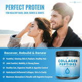 Collagen Peptides Powder - Enhanced Absorption, Double Hydrolyzed, Grass Fed, Keto Protein Powder with Vitamin C - Premium Supplement for Hair Growth, Skin, Nails, Joints & Bones, Unflavored