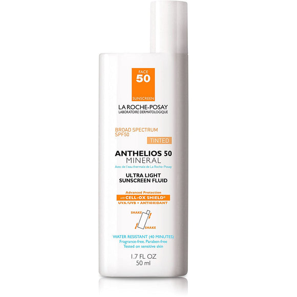 La Roche-Posay Anthelios Tinted Mineral Ultra-Light Fluid Broad Spectrum SPF 50, Face Sunscreen with Titanium Dioxide, Oil-Free, 1.7 Fl. Oz