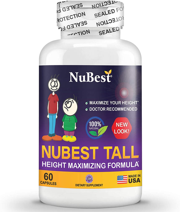 Maximum Natural Height Growth Formula - NuBest Tall 60 Veggie Capsules - Herbal Peak Height Pills - Grow Taller Supplements - Doctor Recommended - for People Who Don't Drink Milk Daily