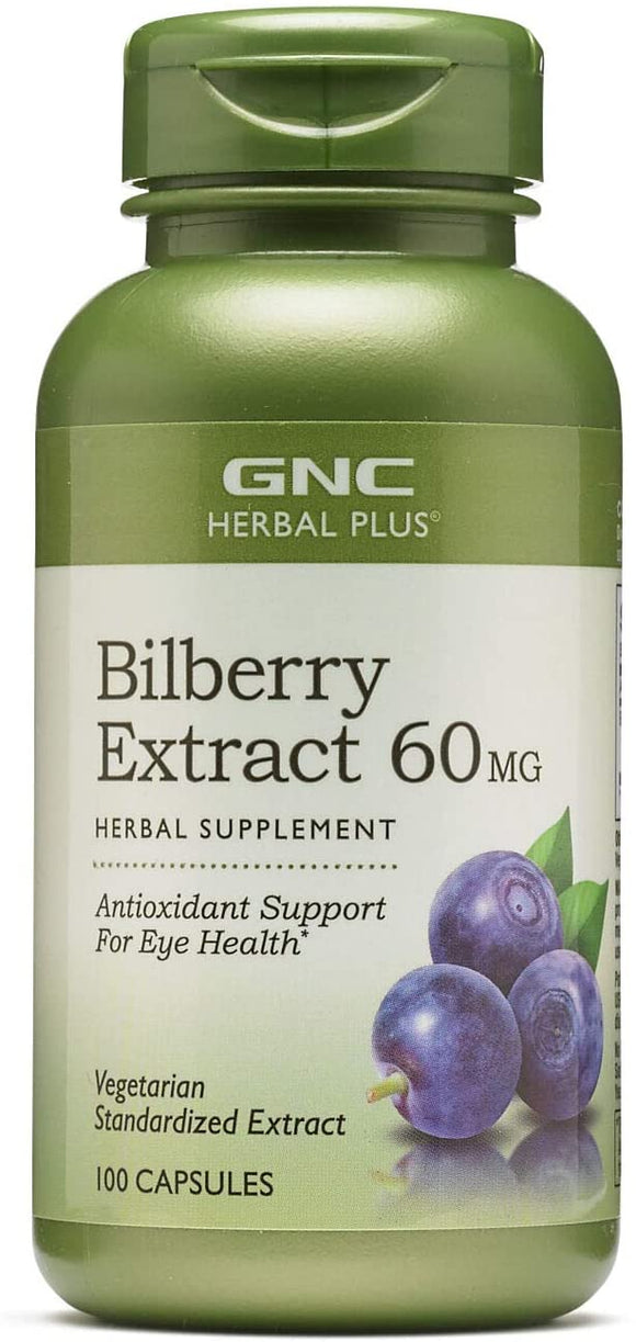 GNC Herbal Plus Bilberry Extract 60mg, 100 Capsules, Supports Eye Health