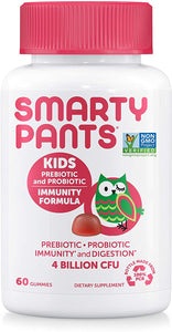 SmartyPants Kids Probiotic Immunity Formula Daily Gummy Vitamins; Immunity Boosting Probiotics & Prebiotics; Digestive Support*; 4 bil CFU, Strawberry Crème, 60 Count(30 Day Supply) Packaging May Vary