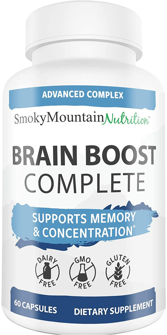 Brain Boost Complete - Brain, Memory and Focus Supplement; Focus, Concentration, Brain Function Nootropic Booster with DMAE, L-Glutamine, Bacopa Monnieri, Vitamins, Minerals, More (60 Capsules)