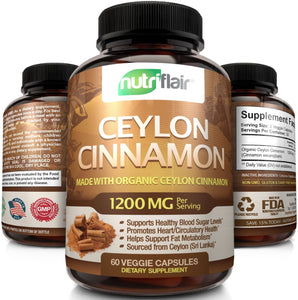 NutriFlair Ceylon Cinnamon (Made with True Ceylon Cinnamon) 1200mg per Serving, 60 Capsules - Healthy Blood Sugar Support, Joint Support, Anti-inflammatory & Antioxidant - True Sri Lanka Cinnamon
