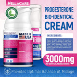 Progesterone Cream (Bioidentica & Natural) Made in USA - 3000 mg Progesterone PCOS Supplement - Menopause, TTC Relief & Hormonal
