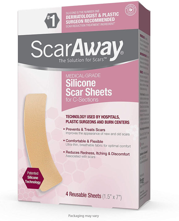 "ScarAway Silicone Scar Sheets for C-Sections, Reusable Sheets (1.5"" x 7"") for Hypertrophic and Keloid Scars from Injury, Burn, Surgery and more, 4 Sheets"
