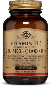 Solgar Vitamin D3 (Cholecalciferol) 250 MCG (10,000 IU), 120 Softgels - Helps Maintain Healthy Bones & Teeth - Immune System Support - Non GMO, Gluten Free, Dairy Free - 120 Servings