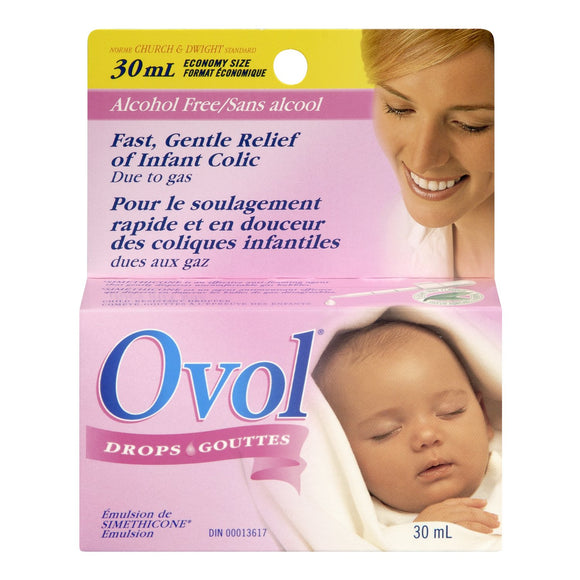 OVOL Infant DROPS for Fast & Gentle Relief of Infant Colic Gas 30 ml Made in Canada