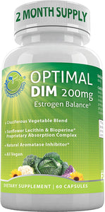 Optimal DIM Supplement 200mg Plus - Estrogen Balance - Organic Whole Foods, Sunflower Lecithin/BioPerine Proprietary Absorption Complex, Aromatase Inhibitor, All Vegan, 60 DRcaps, 2 Month Supply