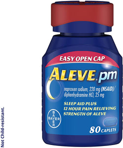 Aleve PM Caplets, Fast Acting Sleep Aid and Pain Relief for Headaches, Muscle Aches, Non-Habit Forming 220 mg Naproxen Sodium and 25 mg Diphenhydramine HCl Capsules, 80 count
