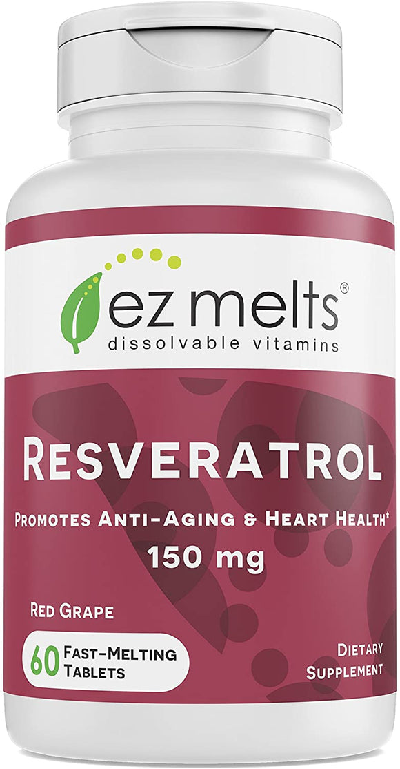 EZ Melts Resveratrol as Trans-Resveratrol, 150 mg, Sublingual Vitamins, Vegan, Zero Sugar, Natural Grape Flavor, 60 Fast Dissolve Tablets