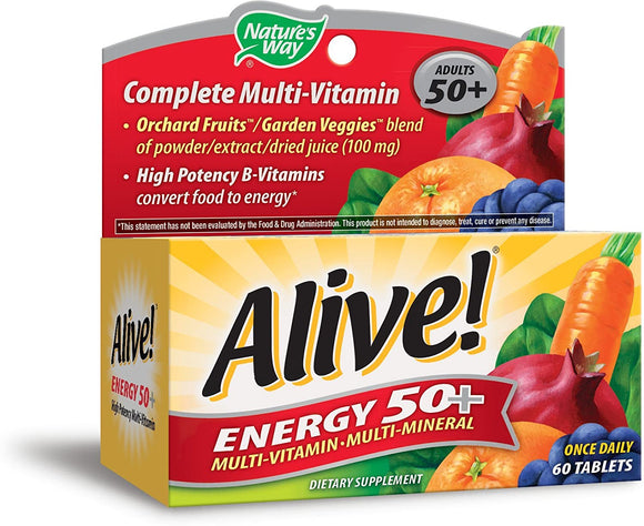 Nature's Way Alive! High Potency Energy 50+ Multi-Vitamin Multi-Mineral Once Daily, 60 Tablets