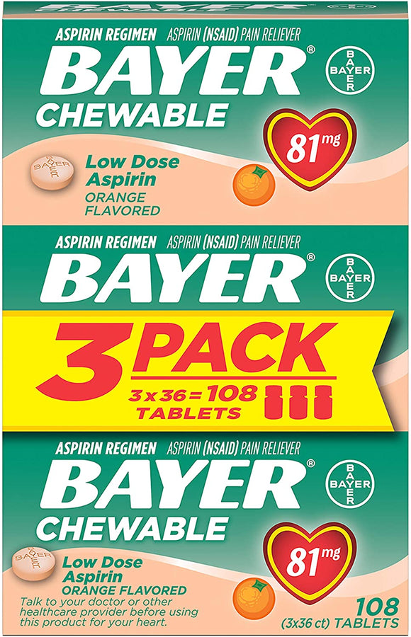 Aspirin Regimen Bayer 81mg Chewable Tablets | #1 Doctor Recommended Aspirin Brand | Pain Reliever | Orange Flavor | 108 Count