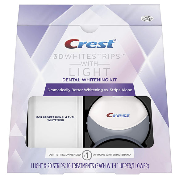 Crest 3D White Whitestrips with Light, Teeth Whitening Strips Kit, 10 Treatments, 20 Individual Strips (Packaging May Vary)