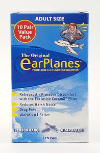 Original Adult EarPlanes by Cirrus Healthcare Earplugs Airplane Travel Ear Protection 10 Pair SUPER BONUS PACK
