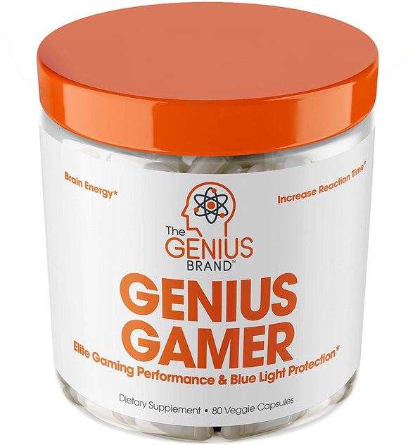 Genius Gamer - Elite Gaming Nootropic | Focus & Brain Booster Supplement - Boost Mental Clarity, Reaction Time, Energy & Concentration – Eye & Vision Vitamins w/Lutein, Support Eye Strain – 80 Pills