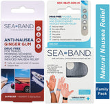 Sea-Band Anti-Nausea Acupressure Wristband for Motion or Morning Sickness, Adult, 1 Pair