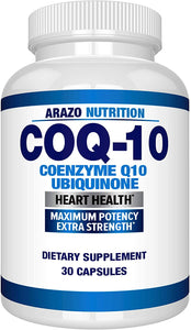 COQ10 Ubiquinone Coenzyme Q10-200mg Maximum Strength Nutritional Supplement - High Absorption Capsules with No Soy - Arazo Nutrition USA