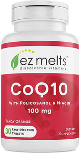 EZ Melts CoQ10 with Policosanol and Niacin, 100 mg, Sublingual Vitamins, Vegan, Zero Sugar, Natural Orange Flavor, 30 Fast Dissolve Tablets