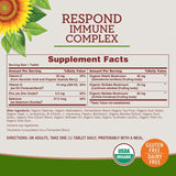 Sundown Organics Respond Immune Complex, Immune System Support with Vitamin C, D3, and Zinc, Gluten Free, 100% Non-GMO, 30 Tablets