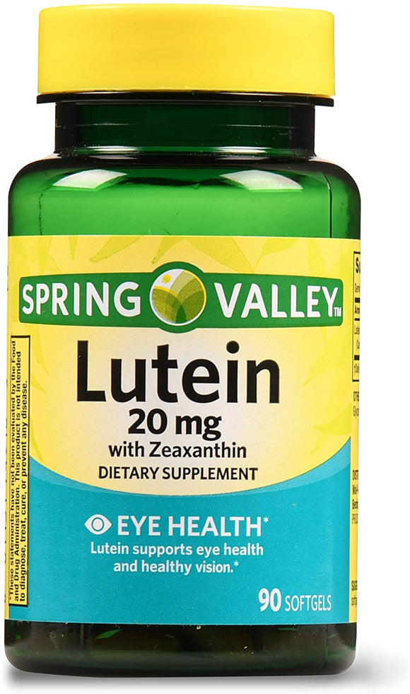 Spring Valley Lutein with Zeaxanthin Softgels, 20 mg, 90 Ct