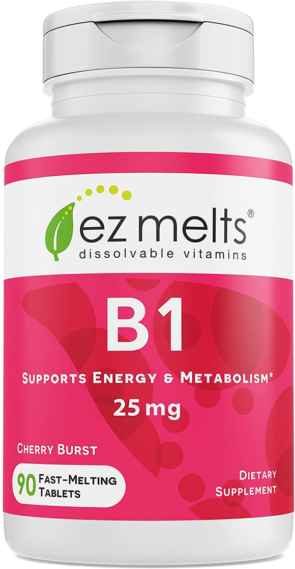 EZ Melts B1 as Thiamine, 25 mg, Immune Support, Sublingual Vitamins, Vegan, Zero Sugar, Natural Cherry Flavor, 90 Fast Dissolve Tablets