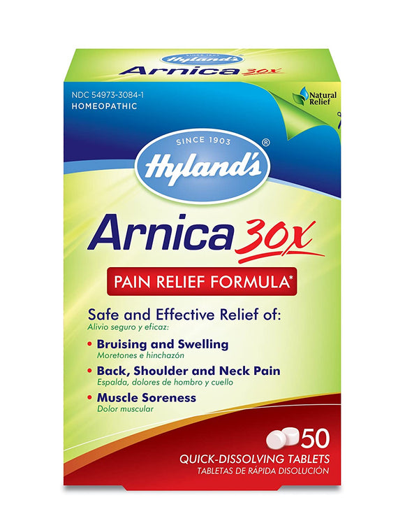 Arnica Montana 30x Tablets by Hyland's, Natural Relief of Bruises, Swelling and Muscle Soreness, 50 Count