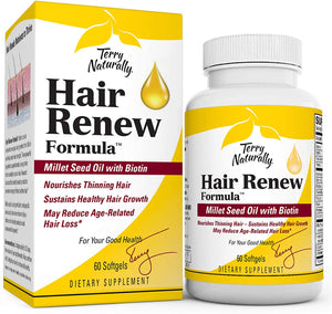 Terry Naturally Hair Renew Formula - 60 Softgels - Supports Healthy Hair Growth, Nourishes Thinning Hair, Contains Millet Seed Oil, Horsetail, Biotin & Folic Acid - Gluten-Free - 30 Servings