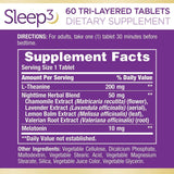 Melatonin by Nature's Bounty, Sleep3 Maximum Strength 100% Drug Free Sleep Aid, Dietary Supplement, L-Theanine & Nighttime Herbal Blend Time Release Technology, 10mg, 30 Tri-Layered Tablets