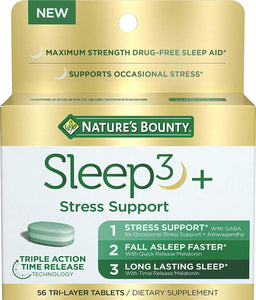 Stress Support Melatonin by Nature's Bounty, Sleep3 Maximum Strength 100% Drug Free Sleep Aid, Dietary Supplement with Ashwagandha, Time Release Technology, 10mg, 56 Tri-Layered Tablets