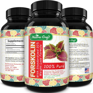 100% Pure Forskolin Extract 60 Capsules - High Quality Weight Loss Supplement for Women & Men - Most Potent Coleus Forskohlii on The Market – Standardized at 20% - Guaranteed by Natures Craft