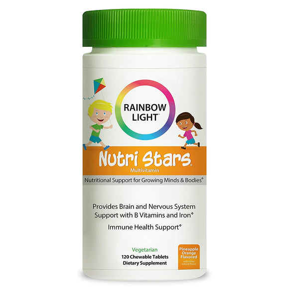 Rainbow Light Nutri Stars Multivitamins for Kids Provides Brain and Nervous System Support with B Vitamins and Iron*, Pineapple Orange, 120 Chewable Tablets (Package May Vary)