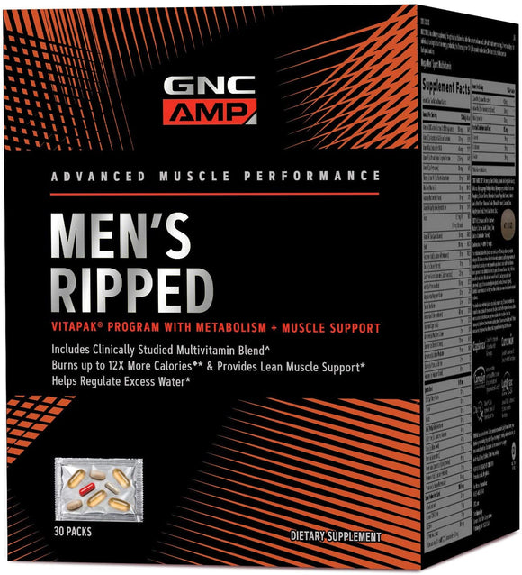 GNC AMP Mens Ripped Vitapak Program, 30 Packs, with Metabolism and Muscle Support
