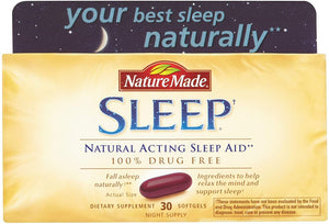Nature Made Sleep - Natural Sleep Aid - 2 Boxes, 30 Softgels Each