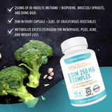 DIM Supplement 250mg Plus BioPerine, Broccoli Sprouts Seed, Dong Quai, Vitamin D, Organic Alfalfa & Broccoli. Menopause, Hormone Balance, Hormonal Acne, PCOS