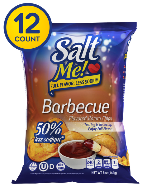 SaltMe! Potato Chips Full Flavor 50% Less Sodium - Barbeque Flavor - 5oz Pack of 6
