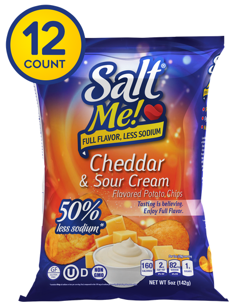 SaltMe! Potato Chips Full Flavor 50% Less Sodium - Cheddar & Sour Cream Flavor - 5oz Pack of 12
