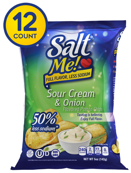 SaltMe! Potato Chips Full Flavor 50% Less Sodium - Sour Cream & Onion Flavor - 5oz Pack of 6