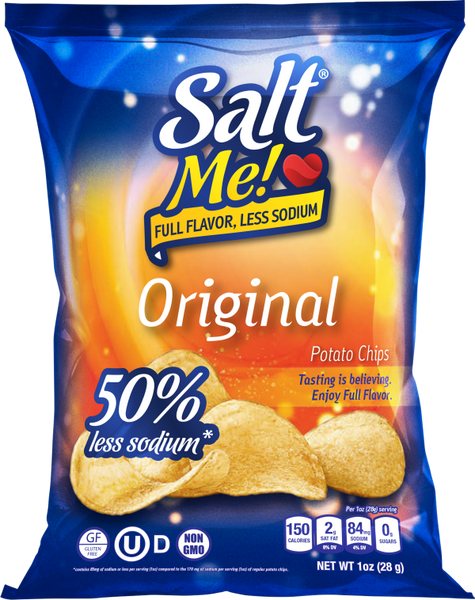 SaltMe! Potato Chips Full Flavor 50% Less Sodium - Original - 1oz - 24ct case