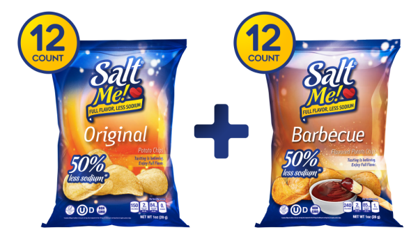 SaltMe! Potato Chips Full Flavor 50% Less Sodium - Variety - 1oz - 24ct case (12 Original + 12 Barbeque)