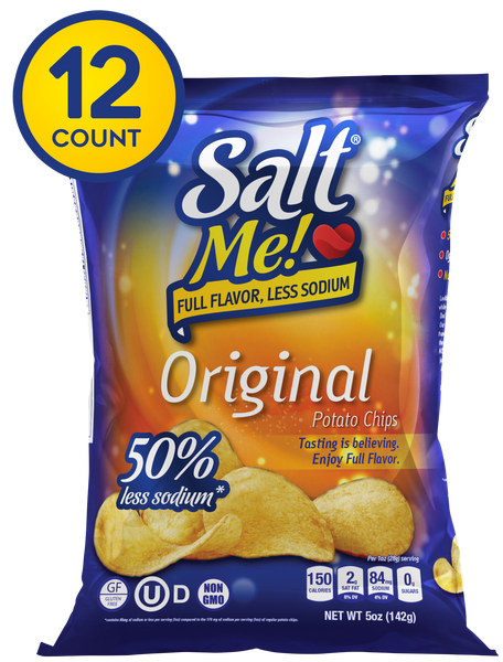 SaltMe! Potato Chips Full Flavor 50% Less Sodium - Original - 5oz Pack of 12