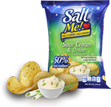 SaltMe! Potato Chips Full Flavor 50% Less Sodium - Sour Cream & Onion Flavor - 5oz Pack of 12