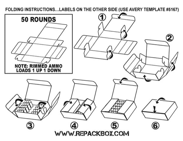 RepackBox PDF Ammo Box Folding Instructions for 357 Magnum ammo.