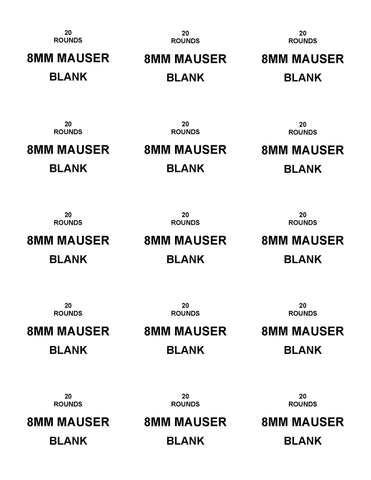 Labels: 8MM Mauser Blank