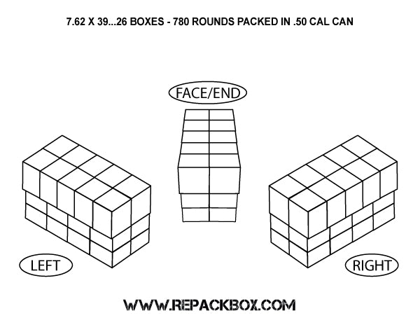 3 Sample Ammo Boxes: 7.62 X 39