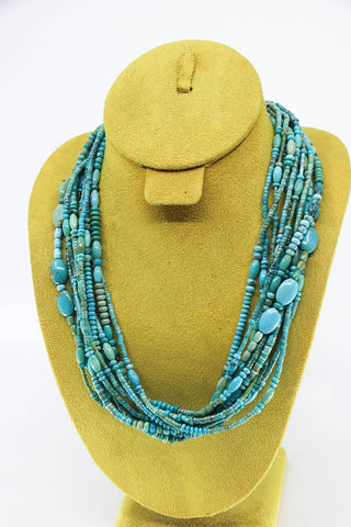 Natural Turquoise Santo Domingo 10-Strand Necklace