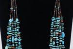 Santo Domingo natural turquoise and heishe multi-color stone 5 strand necklace