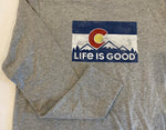 LIFE IS GOOD Colorado Flag Mens Heather Gray Long Sleeve Crusher Tee