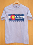 Classic Grey Colorado Logo & Mountains Design T-shirt
